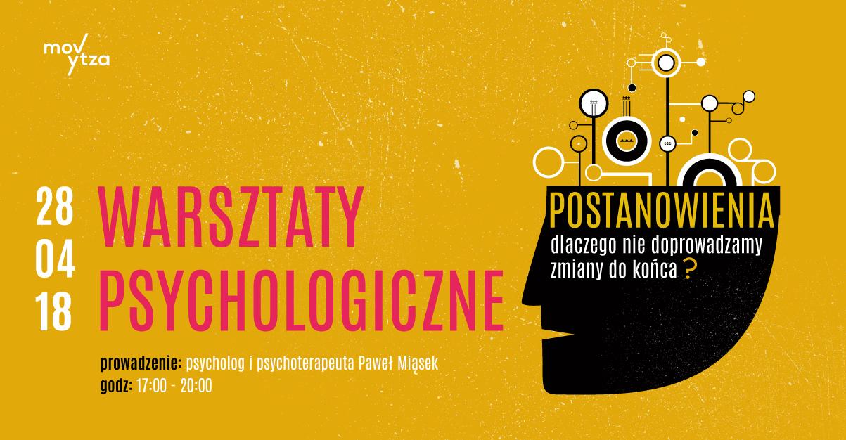 Plakat informujący o warsztatach psychologicznych w Rybniku