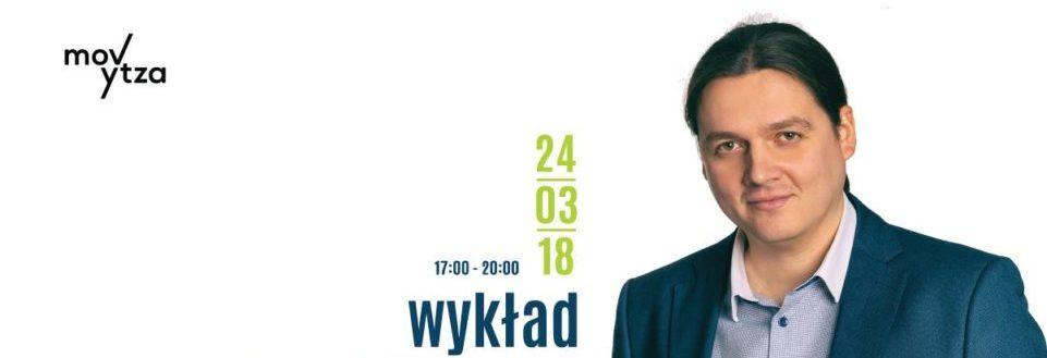 Psycholog Paweł Miąsek promuje wykład w Centrum Sztuki i Rekreacji MOVYTZA
