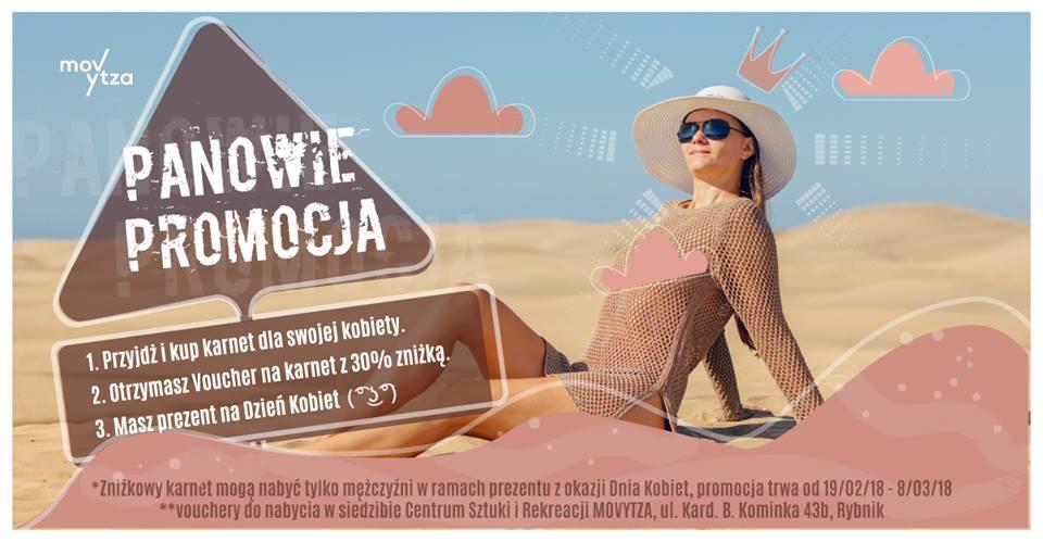 Dzień kobiet w Rybniku. Pani na plaży reklamuje zniżkę. MOVYTZA.